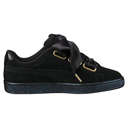 Puma Suede Heart Satin 36271403, Turnschuhe - 36 EU (Black Womens Shoes)