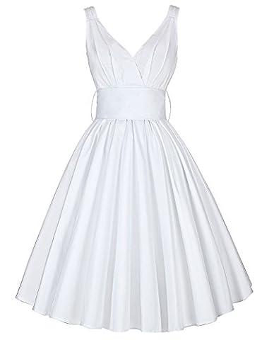 knielang freizeitkleid vintage hepburn kleid falten kleid mode swing weiß partykleid schön faltenkleid mit schleife S