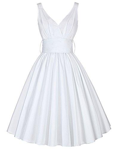 knielang freizeitkleid vintage hepburn kleid falten kleid swing elastisch partykleid hochzeitskleid...