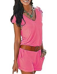 9e930ad516 Minetom Damen V-Ausschnitt Kurze Ärmel Jumpsuit Sommer Strand Beiläufige  Spielanzug Overall Playsuit