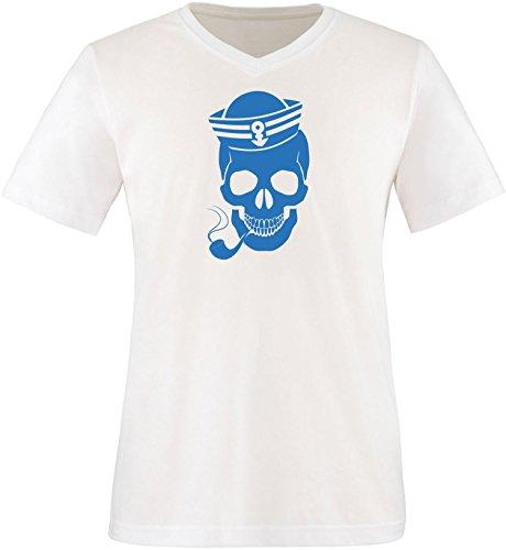 ezyshirt® Skipper Skull Herren V-Neck T-Shirt Weiss/Blau