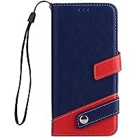 Funda Samsung Galaxy S8 Plus PU cuero flip Wallet Marco Carcasa con tarjeta DECHYI Para deportes y música y para los niños y niñas Funda Bumper-Azul oscuro + rojo