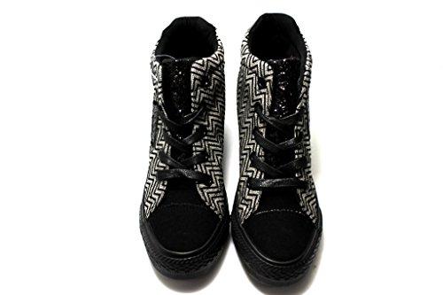 Fiorucci FDAE024 Nero e Blu Sneakers Donna con Zeppa Interna Calzature Comode Blu