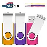 4GB USB Stick, SRVR 3 Stück Speicherstick USB-Flash-Laufwerk Mehrfarbig Memory Stick USB 2.0 Datenspeicher mit LED Anzeige Kappe Schlüsselband