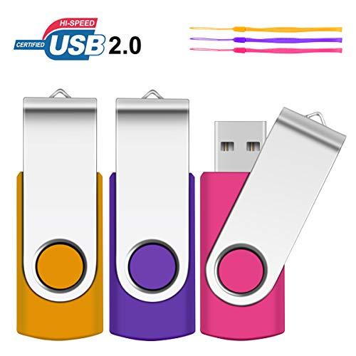 2GB USB Stick, SRVR 3 Stück Speicherstick USB-Flash-Laufwerk Mehrfarbig Memory Stick Datenspeicher USB 2.0 mit Kappe LED Anzeige Schlüsselband