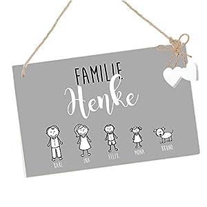 Türschild Familie individuell in Grau u. Weiß