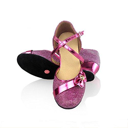 Sapatos Latin Dança Sapatos De Vermelha Dos Mulheres De Sapatas Malha Subiu Miúdos De Mulheres Salão 8z6Enwtnx