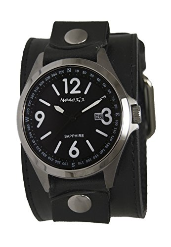 Nemesis Men's 'Sapphire' Quartz Stainless Steel and Leather Casual Watch, Color:Black (Model: LBB251K)