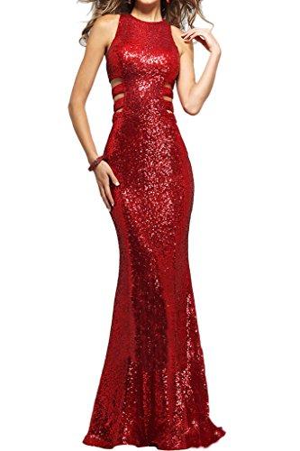 Donna Ivydressing sessualmente Paillette in-linea un'ampia vestito da sera abito da festa rosso 64