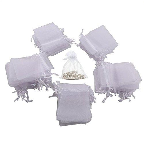 IROCH 2,75 x 3,5 pollici Organza bianco del regalo sacchetti di caramelle favore della festa nuziale Borse Gift Bag con coulisse Bagno Sapone Nail Polish Potpourri bagagli Borse Borse Bridal Shower (pacchetto di 100pcs)
