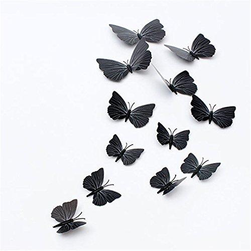 "12pcsx 1Farbe Art Aufkleber Mädchen Home Raum Wand Aufkleber 3D Deko Schmetterling Decors""Schwarz Farbe"" Set11"
