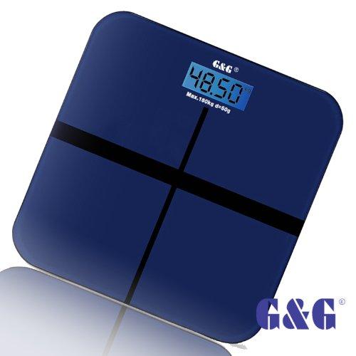 G&G A6 180kg DESIGN Digitalwaage Personenwaage AAA Batteriebetrieb GLAS Scale (Dunkelblau-Kreuz)