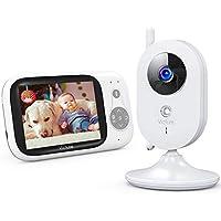 """Victure Baby Monitor Videocamera con schermo 3.2"""" 930mAh VOX Notturna Visione di Temperatura 8 Ninne Nanne Audio a Due Vie Attivazione Vocale Telecamere, Bianco …"""