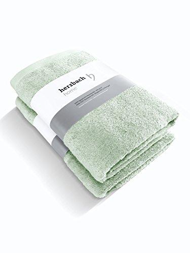 herzbach home Luxus Handtuch Duschtuch 2er-Set Premium Qualität aus 100% ägyptischer Baumwolle 70 x 140 cm 600 g/m² (Mintgrün)
