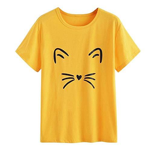 HEATLE Mode Damen Sommer täglich Mode Lässig Kurzarm Oansatz Katze Gedruckt Kausale Bluse Tops T-Shirt