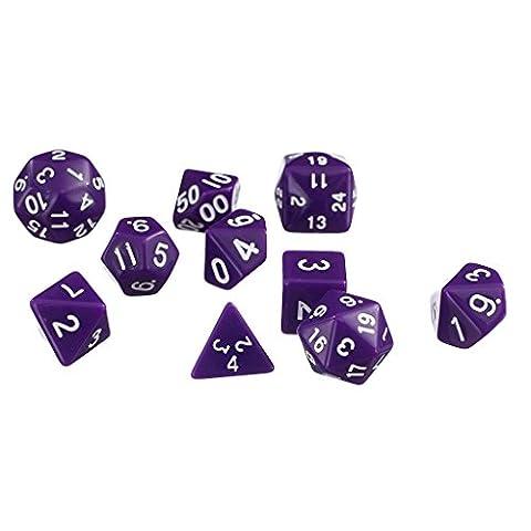 10pcs / Set Trpg Spiele Dungeons & Dragons D4-d30 Mehrseitige Würfel Lila