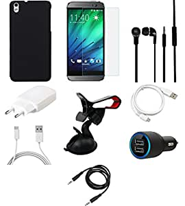 NIROSHA Tempered Glass Screen Guard Cover Case Charger Headphone USB Cable Mobile Holder for HTC Desire 816 - Combo