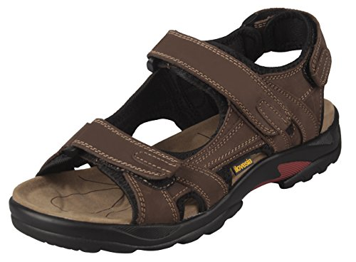 iLoveSIA Mens Athletic and Outdoor Leather Sandals Brown UK Size 9 (EU 44)