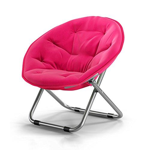YIXINY Esszimmerstühle Folding Round Chair Stahl+Leinwand Sofa Stuhl Moon Chair Sun Liegen Chaise Longue Starke Rutschfeste 5 Farben ( Farbe : 02 )