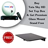 Tata Sky & Mounts XLNC HD Set Top Box with 1 Month HD FTA Pack and DTH Glass Stand Free(Black)
