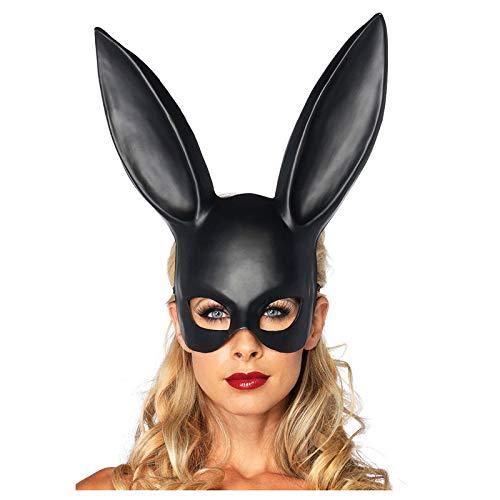 Bunny Kostüm Verkauf Für - UyeFS-Masquerade Mask Abschlussball Party Dress Up Bunny Ohren Maske Bunny Maske Half Face Mask (Size : Matt Black)