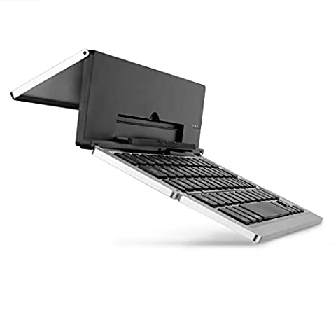 Faltbar Bluetooth Tastatur, iEGrow F18 Universal Tragbar Bluetooth 3.0 Kabellose Tastatur mit Ständerhalter für Apple iPad iPhone 7 Plus IOS, Andriod Windows Smartphone Tabletten Silber [QWERTZ deutsches