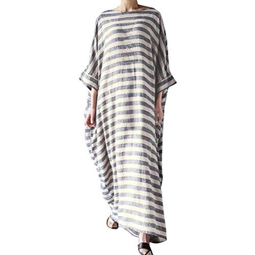Damen Kleid Frauen Gestreift 3/4-Arm Boho Rundhalsausschnitt beiläufige lose Kaftan Lange Maxi Kleid (S/36, ()