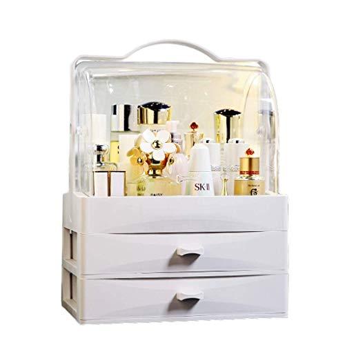 Cosmetic Organizer Makeup Tragbarer Halter Makeup Tray Display Ständer Boxen Aufbewahrungsboxen Griff und Arbeitsplatte Staubschublade (Farbe: ROSA),Weiß Display-trays