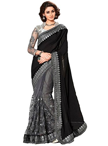 Magneitta Women\'s Georgette & Net Saree With Blouse Piece (16767A_Black)
