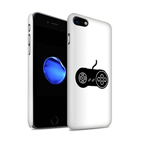 STUFF4 Matte Snap-On Hülle / Case für Apple iPhone 8 / Weiß PS4 Muster / Spielsteuerung Kollektion Schwarz SNES
