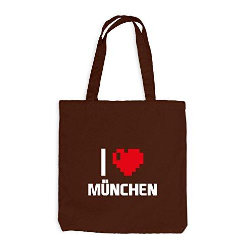Jutebeutel - I Love Muenchen - Deutschland Reisen Herz Heart Pixel Chocolate