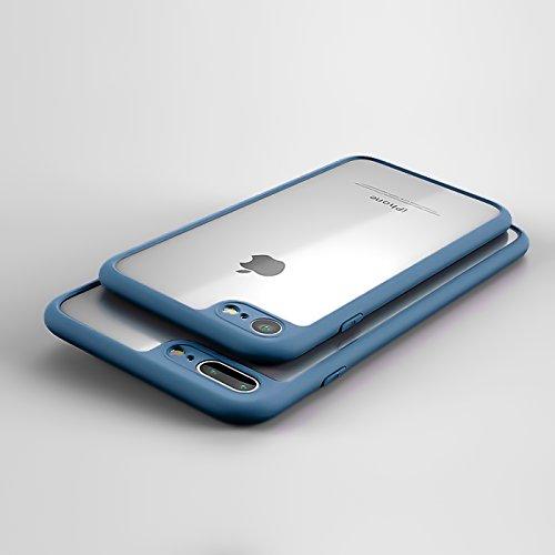 iPhone 6S, 6 Hülle, Conie TPU PC Clear Bumper Silikoncase Hybrid Schutzhülle Backcover Rückschale in Rose Gold Blau