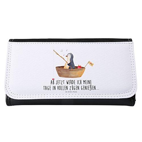 Mr. & Mrs. Panda Damen Portemonnaie Pinguin Angelboot - 100% handmade in Norddeutschland - Pinguin, Pinguine, Angeln, Boot, Angelboot, Lebenslust, Leben, genießen, Motivation, Neustart, Neuanfang, Trennung, Scheidung, Geschenkidee Liebeskummer, Portemonnaie, Geldbörse, Damen, Frauen, Groß, XXL,