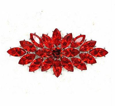 Brosche Pin Rote Blume (Vintage Stil Rot Kristall Blume Bouquet Party Ball Hochzeit Brosche Pin br253)