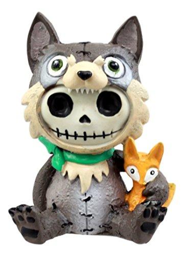 Bad Kostüm Halloween Santa - Ebros Geschenk Furrybones Big Bad Wolf Figur 8,9cm H Kapuzen Wolfgang Kostüm Skelett Monster Skulptur Decor Sammlerstück