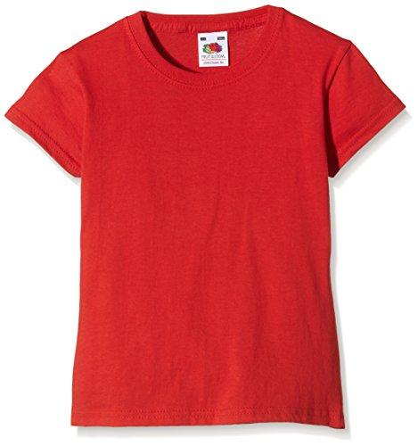 Fruit of the Loom Mädchen T-Shirt Valueweight, RotGr. 14/15 Years (Herstellergröße: 36) -