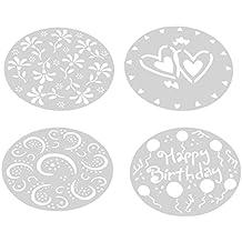 joyliveCY Plantilla redonda para decoración de tartas con azúcar con dibujos de corazón y flores,