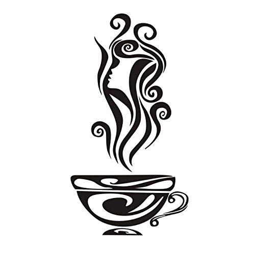 limicry Hot Art Eine Tasse Heißer Tee Wandtattoos Wandaufkleber Frau China Design Dekor Kinderzimmer Kreative Aufkleber Geschenk 31 cm X 59 cm China Dekor