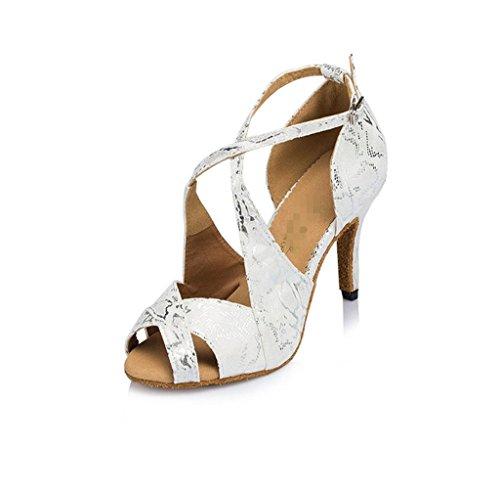 Frauen Salsa Tango Latin Dance Schuhe Ballsaal Soft Bottom High Heel Printing Chunky Leder Wildleder Ankle Strap Gürtelschnalle Klassische Sandalen Weiß . B . 41 -