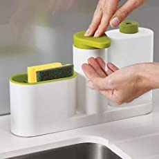 Lukzer Multi-Utility Sink Organiser For Bathroom & Kitchen With Liquid Hand Wash Soap Dispenser Pump