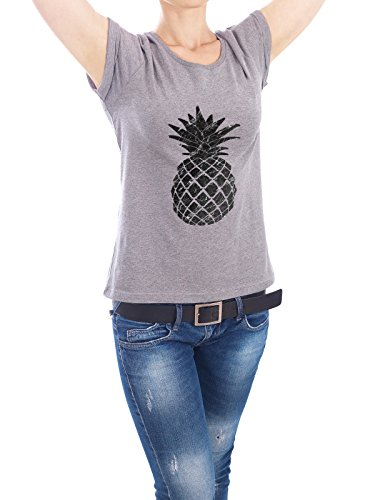 Design T-Shirt Frauen Earth Positive 'Marble Pineapple' in Grau Größe XL - stylisches Shirt...