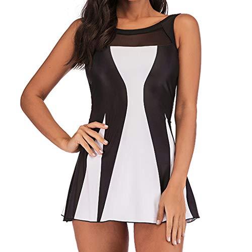 VECDY Bikini Damen Set Sexy Badeanzug Badebekleidung Schwimmen Gepolsterter Tankini Swimdress Badeanzug Beachwear in Übergröße Unterwäsche (T-Weiß, L) -