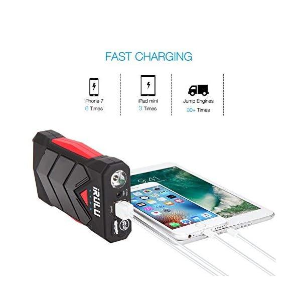 iRULU Auto Starthilfe Powerbank, 600A 12000mAh Tragbare 12V Autobatterie Anlasser, Hochleistungs-Starthilfe Auto Car…