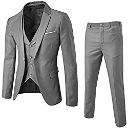 QUICKLYLY Trajes Hombre Chaquetas Charm Encanto Casual Un Botón Apto Fit Suit Traje Blazer Abrigo Tops Fiesta Lentejuelas Chaqueta Esmoquin Estampada Manga Larga Cardigan(Gris,XL)