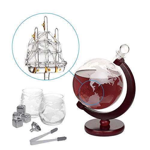Whiskey Decanter Set Globus Karaffe 1500 ml mit 2 Gläser, Eiszange, Whiskey Steine, Glasstopfen - Schiff