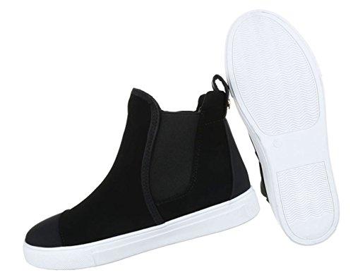 Damen Sneaker Schuhe Freizeitschuhe Runner High-top Schwarz Rot Grau 36 37 38 39 40 41 Schwarz