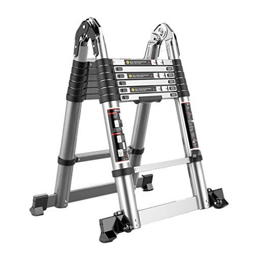 Lpz scaletta telescopica multifunzione a spina di pesce scala dritta scaletta pieghevole in alluminio con chiusura di sicurezza pedale antiscivolo antiscivolo (dimensioni : 2.5+2.5=5m)