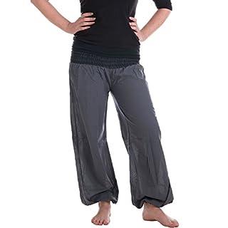 Vishes - Alternative Bekleidung - Sommer Chino Haremshose aus Baumwolle mit super elastischem Bund - handgewebt grau Einheitsgröße 32 bis 42