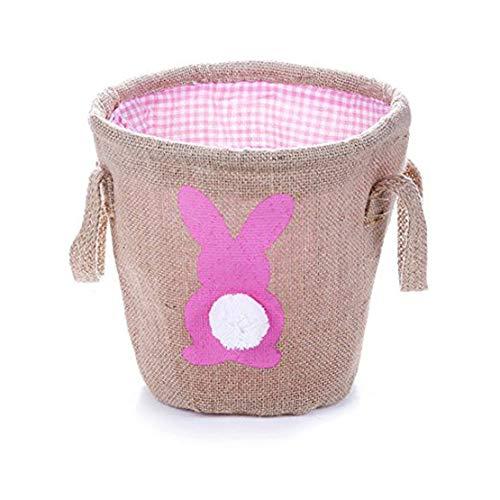 DFASPH Ostern Tasche Korb Bunny Tote Bag Cute DIY Handtasche Geschenk und Eier Tote Storage Eimer für Frau Mädchen rot -