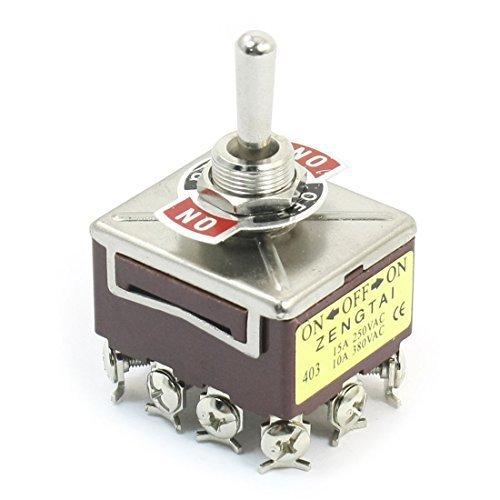 DealMux AC 380V 10A ON/Off/ON 3 Positionen 12 Pin verriegelnd Kippschalter 4PDT, Modell: -